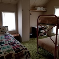 Bedroom 9 is a family room, with a double bed and a bunk bed (sleeps 4)